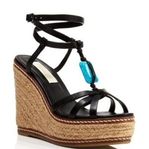 Lauren Ralph Lauren Shana Leather Black Espadrille